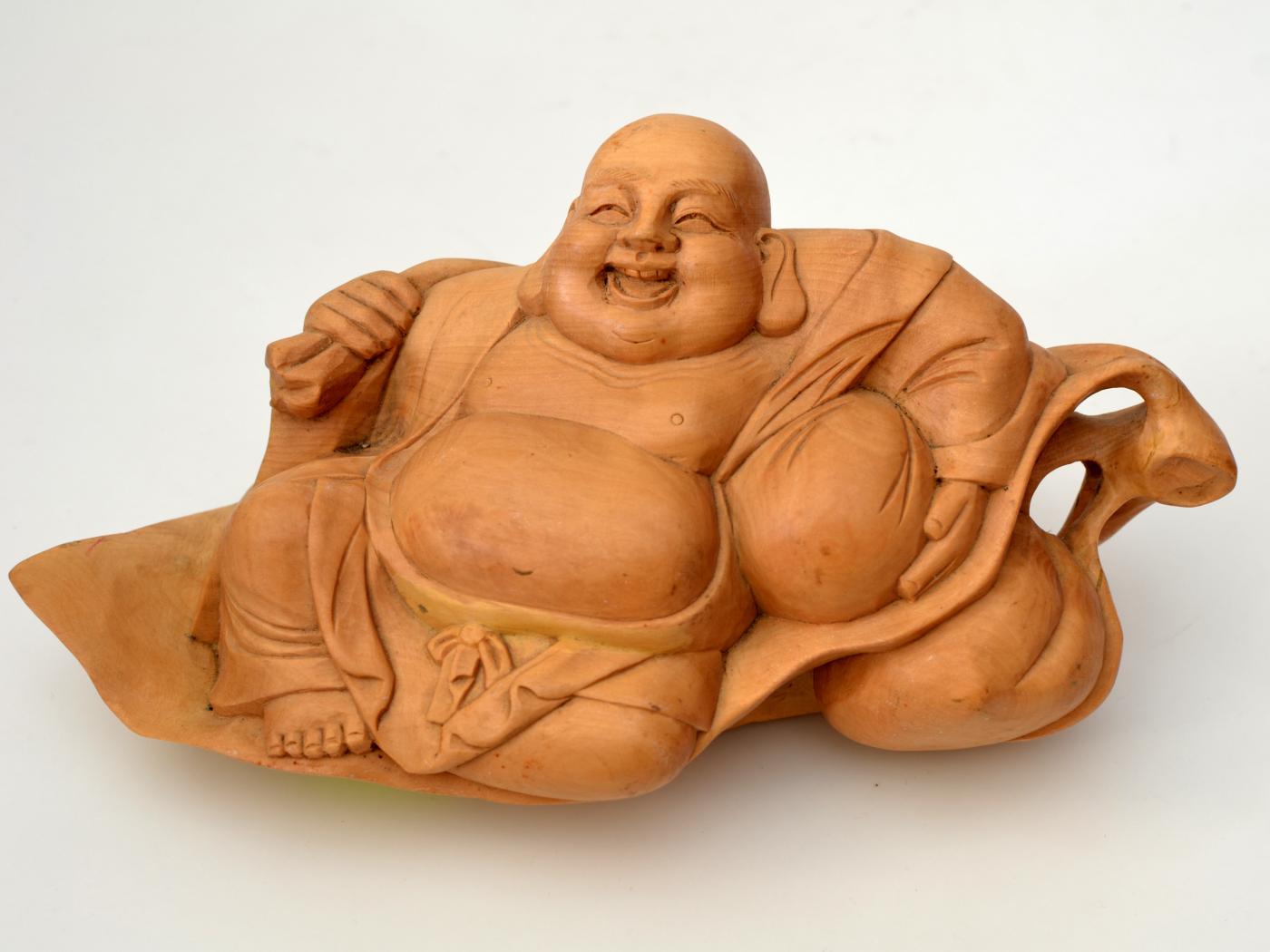 Statueta din lemn Buddha sezand
