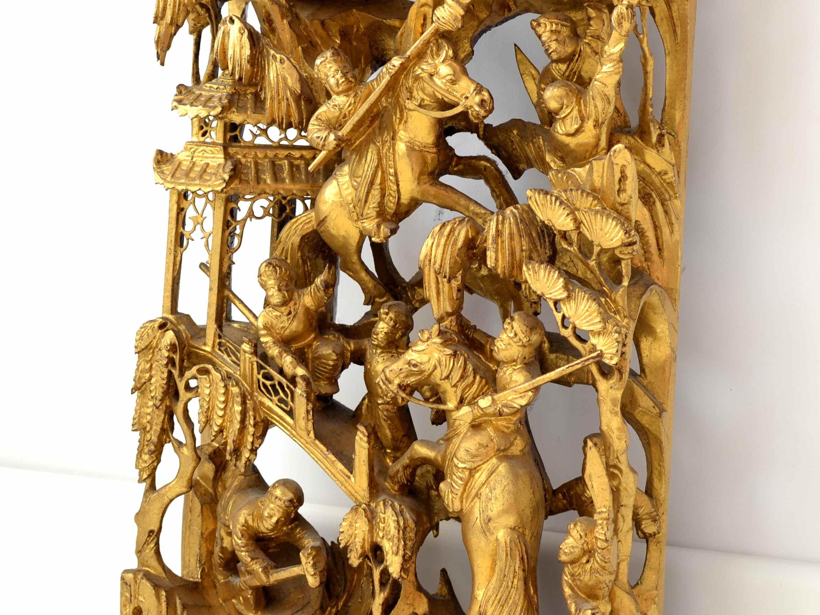 Panou chinezesc din lemn sculptat aurit sec. XIX