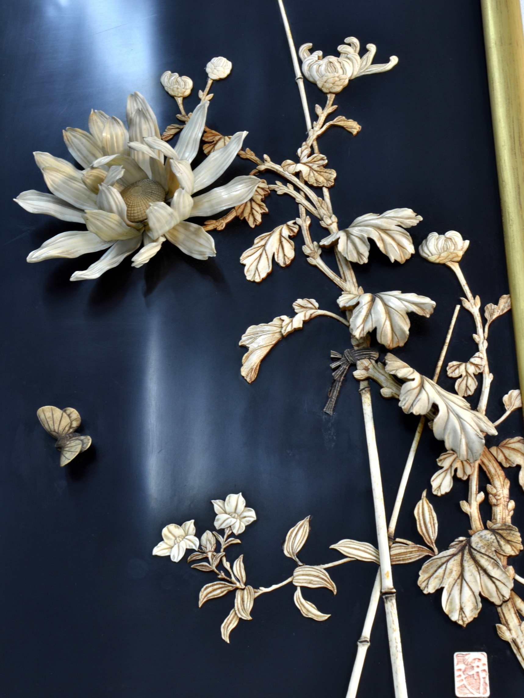 Panou asiatic din lemn si fildes sec. XIX