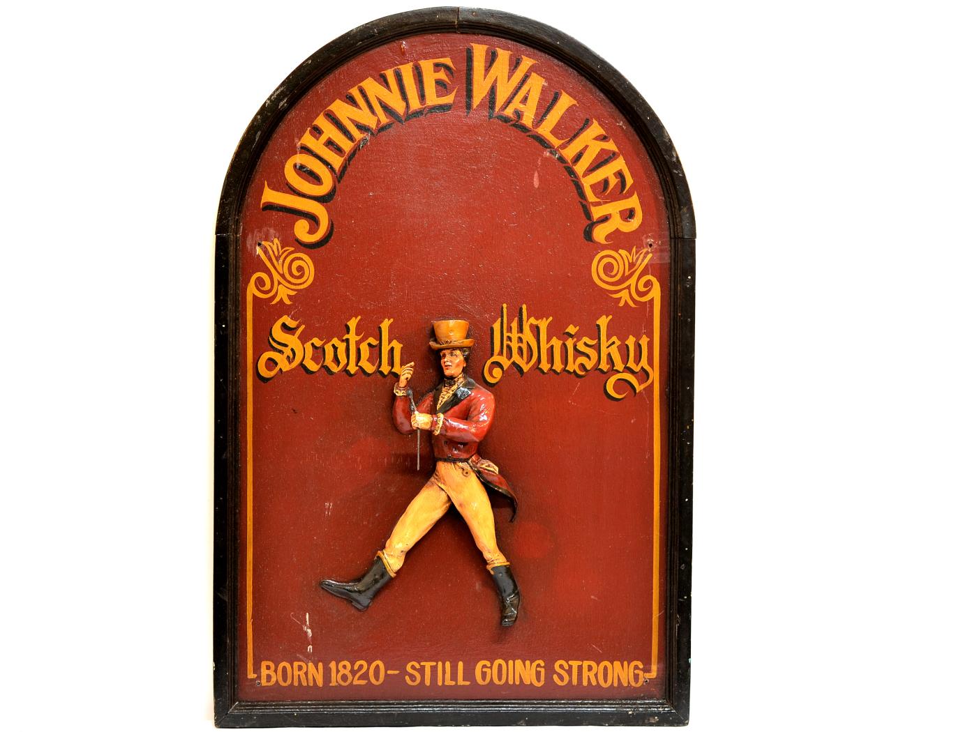 Reclama veche in relief cu Johnnie Walker