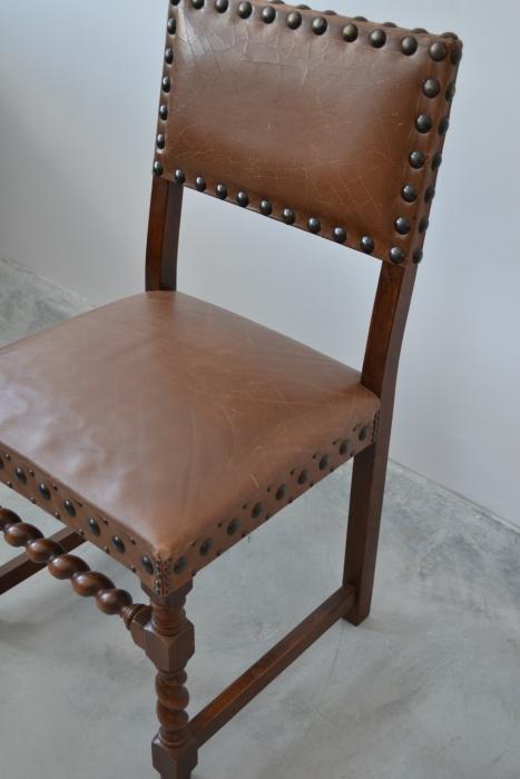 Set 5 scaune renastere spaniola din piele si tinte originale