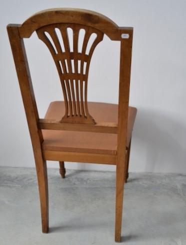 Set 6 scaune stil Louis al XVI-lea din lemn de nuc si tapiterie piele ecologica