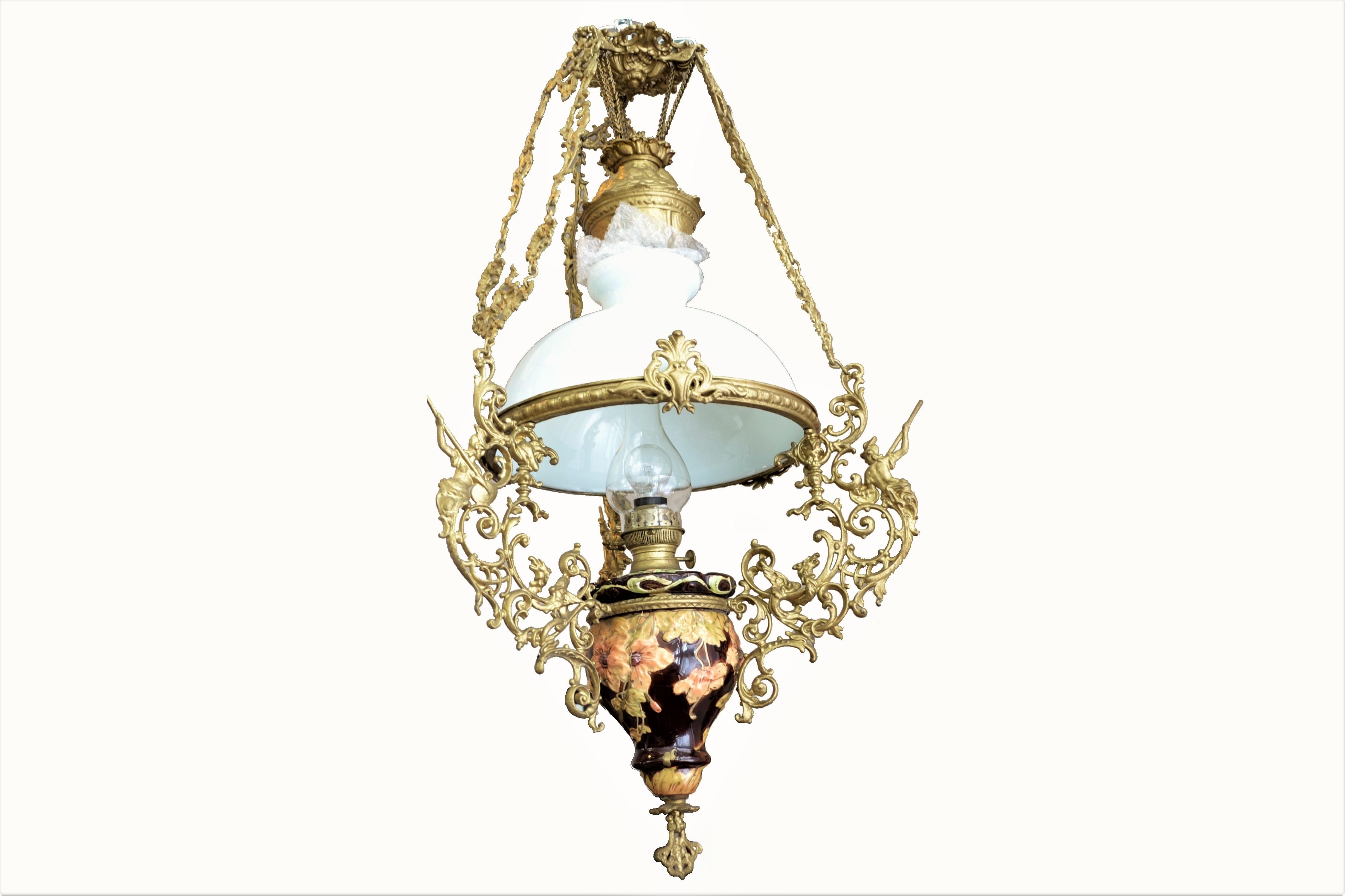 Lampa opalina cu corp din ceramica