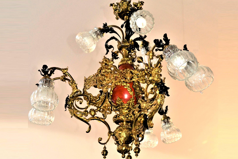 candelabru din bronz masiv si fier forjat cu 10 brate magazin antichitati bucuresti online. Black Bedroom Furniture Sets. Home Design Ideas