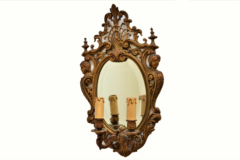 Oglinda din cristal cu rama din bronz masiv