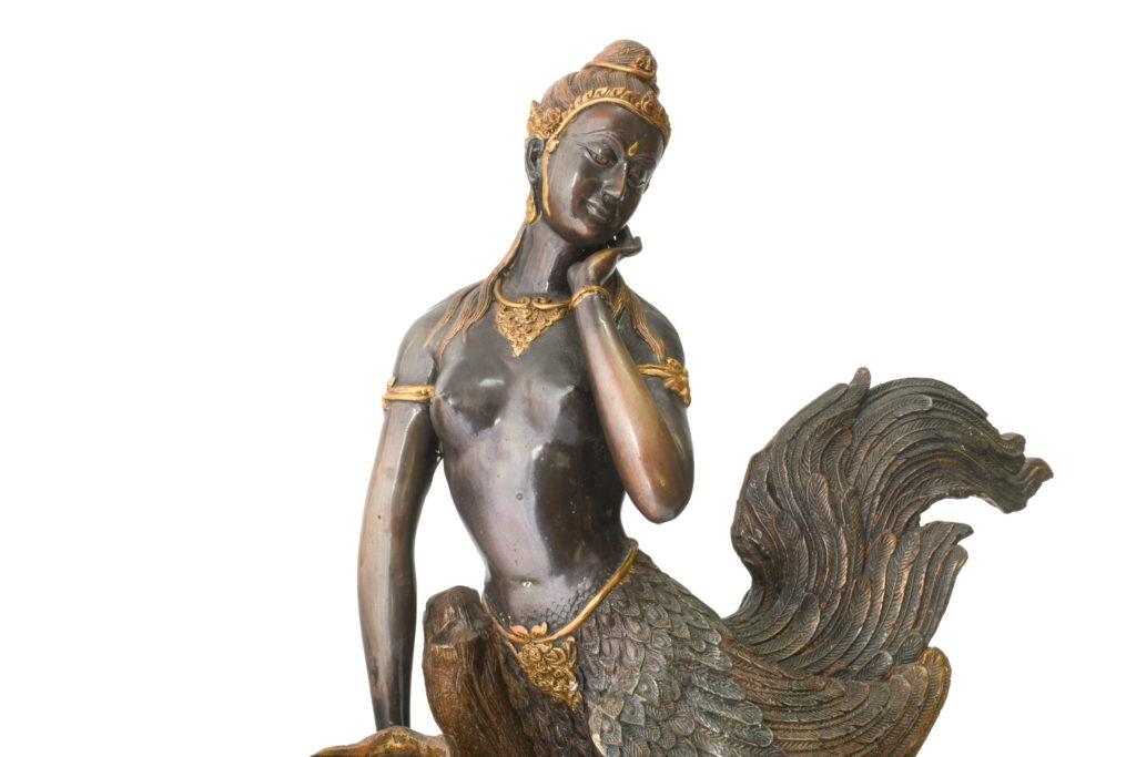 Statuie din bronz masiv zeita pasare Kinnara