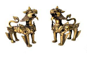Pereche de lei Kilin din bronz masiv