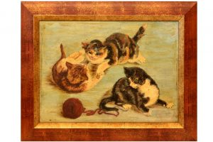 Tablou cu pisici , ulei pe lemn