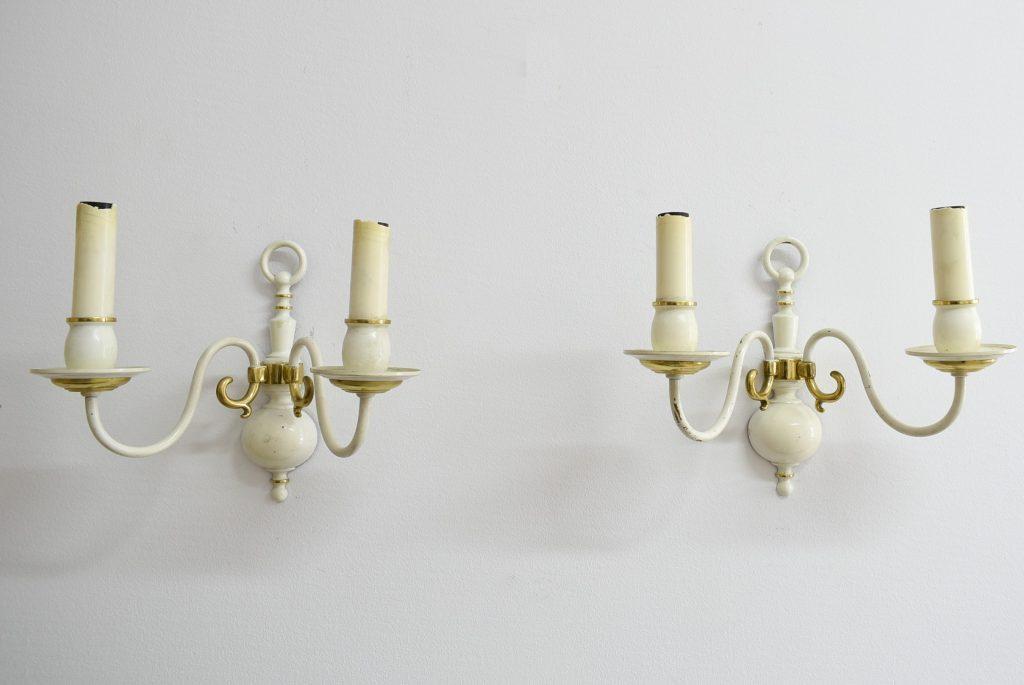 Set doua aplice din bronz masiv vopsit alb