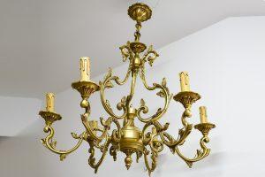 Candelabru din bronz masiv cu 6 becuri