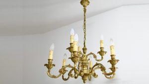 Candelabru baroc din bronz masiv cu 2 etaje