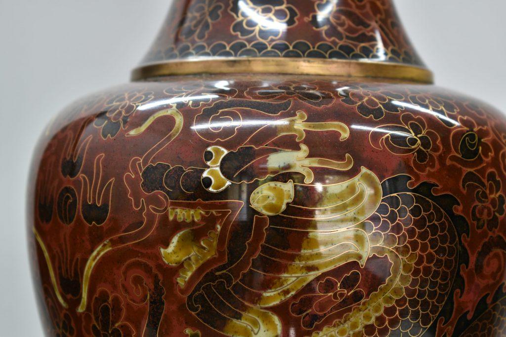 Vaza cloisonne cu 2 dragoni