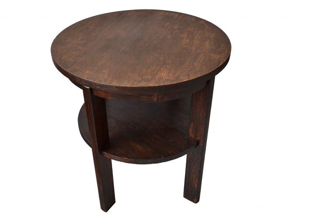 Masa rotunda cu etajera din lemn