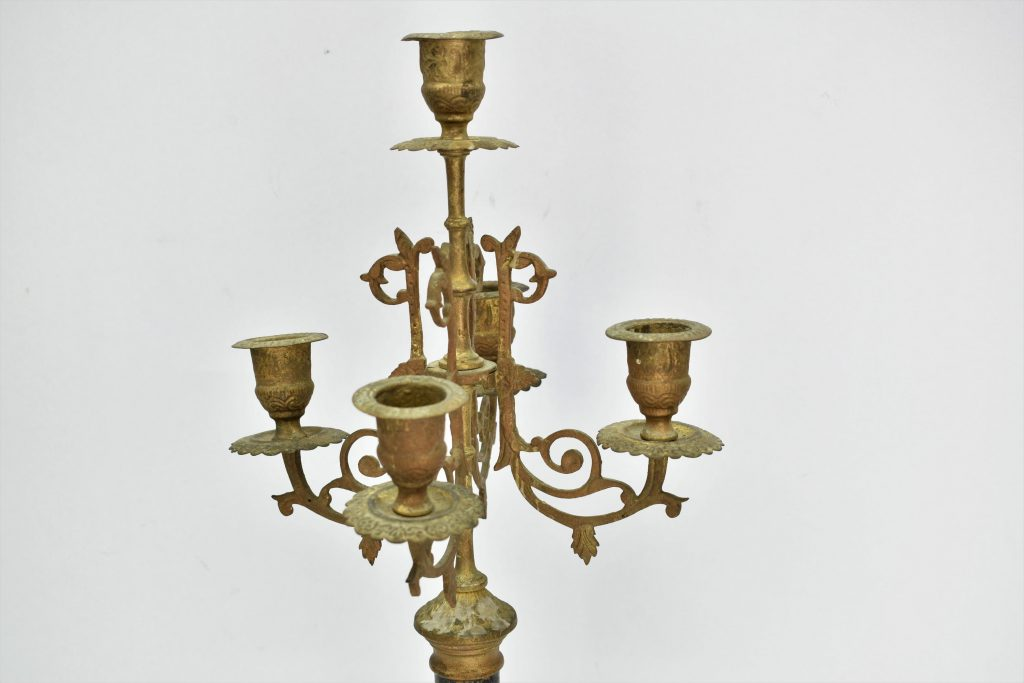 Set 2 sfesnice din bronz masiv si onix