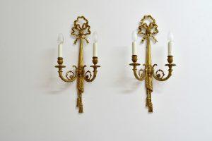 Set 2 aplice mari din bronz aurit stil Empire