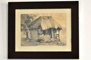 Desen in carbune semnat Leta (Calliope) Mironescu (1896-1981)