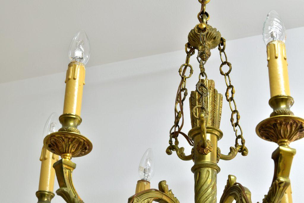 Candelabru din bronz dore