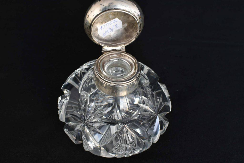 Calimara cristal si capac de argint