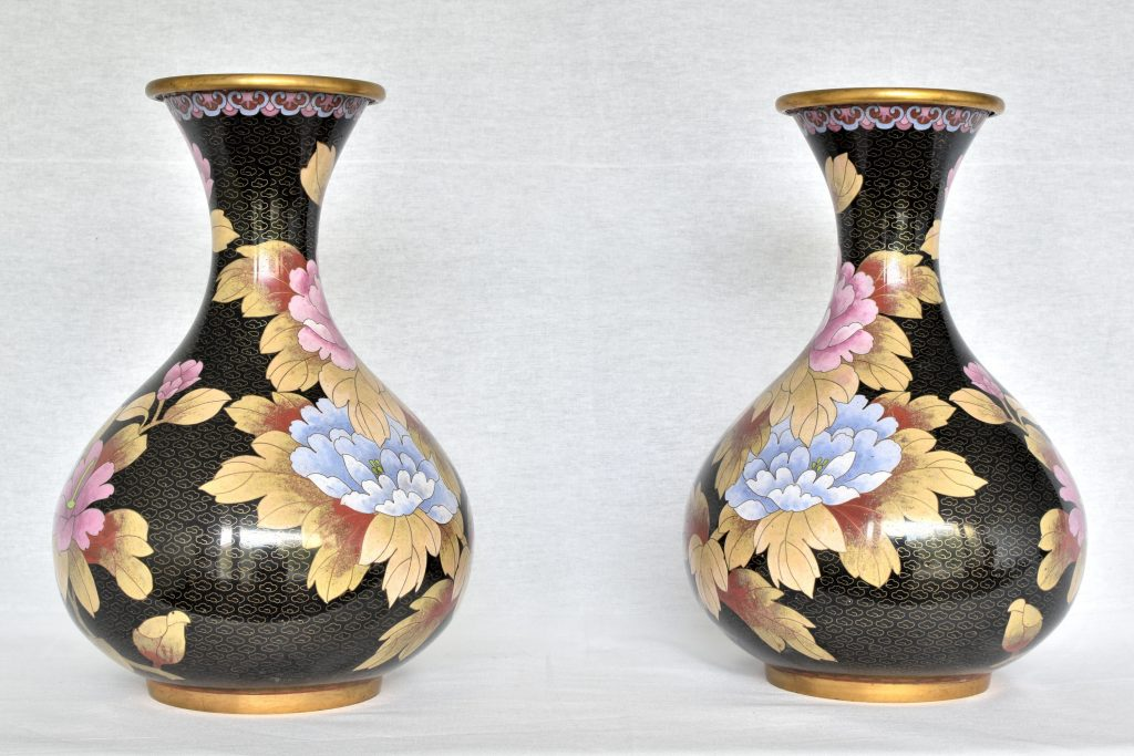 Vaza Cloisonne neagra