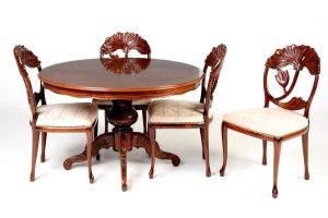 Set 4 scaune Art Nouveau din lemn exotic si masa