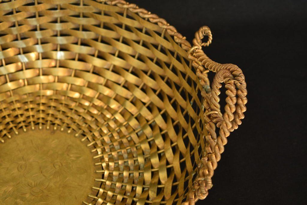 Fructiera cu impletituri din bronz aurit