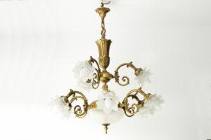 Candelabru din Bronz cu sticla tip Lalique