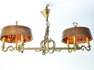 Candelabru Bouillotte din bronz masiv si alama