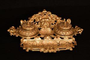 Set birou calimara baroc din bronz