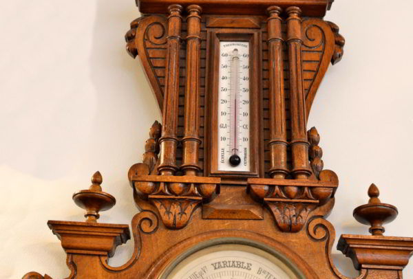 Barometru mare Aneroide din lemn de nuc