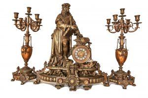 Set ceas cu statuie Leonardo Da Vinci